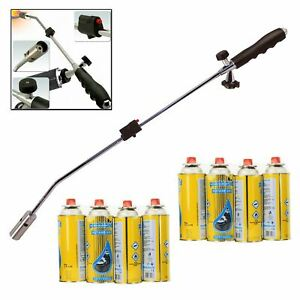 Weed Wand & Butane + Gas Canisters Blowtorch Garden Torch Weeds Killer Burner
