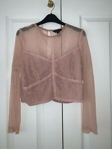 New Look Pink Lace Long-Sleeve Top, Size 14, Great Condition
