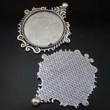 Cameo Setting Tray 35mm Jewelry 50196 5pcs Vintage Silver Alloy Patterned Round