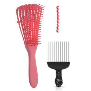 Adjustable Hair Brush Scalp Massage Comb Black Fist Afro Pick Metal Wide G0V2