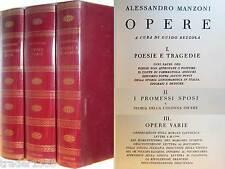 MANZONI 3 vol.Opere + Promessi Sposi (a cura di Bezzola) I CLASSICI RIZZOLI 1973