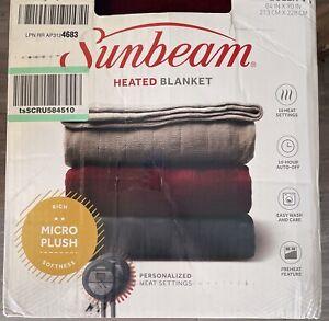 Sunbeam FULL Size Micro Plush Heated Blanket Garnet 10 Settings Maroon Burgundy