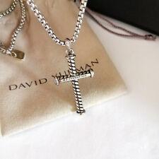 "David Yurman 2.7mm Box Chain Necklace Sterling Silver Cross Pendant Necklace 22"""