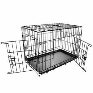 "Dog Pet Training Transport crate Fold Flat cage Removable Tray Medium 30"""