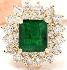 6.58 Carat Natural Emerald 14K Yellow Gold Diamond Ring