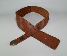 Studded Leather Belt Concho Grommet Hip Distressed Brown 40 42 44