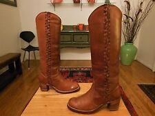 Vtg. FRYE Women's Tall Sexy Medium Brown Leather Fashion Boots 6.5B  XLNT!  USA!
