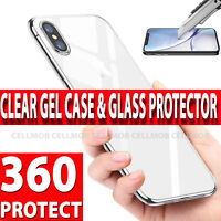 360 Case For iPhone XS Max X Ultra Slim Clear Gel Cover & Glass Screen Protector