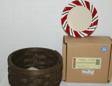 2006 New Longaberger Round Coaster Basket, 4 New Peppermint Twist Coasters, Box