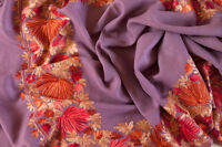 Lavender Pashmina Wool Shawl Crewel Embroidery Kashmir Ari Embroidered Stole