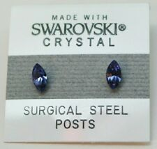 Purple Blue Oval Stud Earrings 8mm Crystal  Made with Swarovski Elements Gift