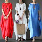 ZANZEA Women Oversized Loose Short Sleeve Cotton Casual Maxi Long Dress Baggy