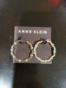 Anne Klein Scallop Hoop gold Pearl Earrings