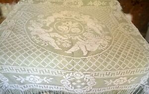 Hand made vintage filet lace bed cover, angels, putti, cherubs