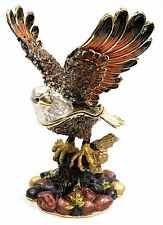 Eagle Jeweled Trinket Box Hand Painted FengShui Eagle Jewelry Box with Crystals