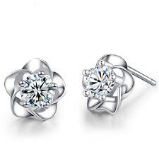 Women Jewelry Elegant 925 Sterling Silver Crystal Ear Stud Earrings Plum Flower