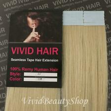 "10pcs 22"" Remy Seamless Tape Skin Weft Human Hair Extensions Lightest Blonde #11"