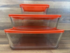 Vintage Pyrex Cook and Store Set of 3 Rectangular Glass Food Storage Dishes