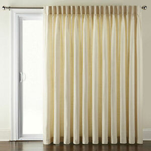 JC Penney Supreme Energy Pinch-Pleat Back Tab Ivory Patio Curtain Panel 100 x 84
