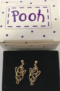 WINNIE THE Pooh Earrings Pair Gold Tone Pierced Earrings NEW in Box Disney AVON