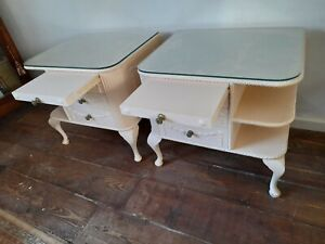 PAIR VINTAGE FRENCH BEDSIDE DRAWERS WITH RESTS AND SHELVES SWAGGED,LARGE