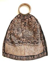 Antique Chinese Silk Embroidery Purse Banner Robe Scholar Gold Stone Handles