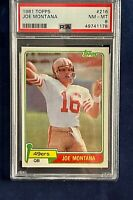 👀📈🔥1981 Topps Football Joe Montana Rookie #216 - PSA NM-MINT 8!!! 👀📈🔥
