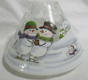 Yankee Candle Jar Shade Clear CRACKLE SNOWMAN FAMILY SKATING cat dog trees