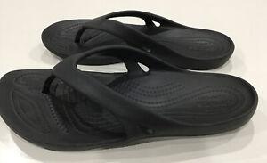 Crocs Flip Flops Iconic Comfort Slip On Thong Sandals Black Womens Size 7