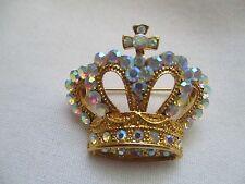 Rhinestones Royal Crown Brooch /Pin New-Vintage Style Colorful Aurora Borealis