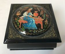 Vintage Russian Black Lacquer Wooden Trinket Box Hand Painted Signed Hinged