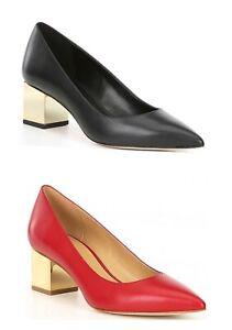 Women MK Michael Kors Petra Low Pump Metallic Block Heel Shoe Leather