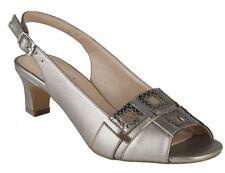 Ladies Peep Toe Slingback Formal Shoes Lotus Aubrey Pewter UK Sizes 4 - 8