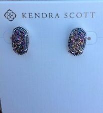 NWT Kendra Scott Elllie Multi Drusy Stud Earring & Rhodium Plate Sold Out