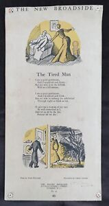 """Grace Golden """"The New Broadside - The Tired Man"""" c.1930's Signed by Grace Golden"""