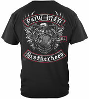 Pow Mia Brotherhood Biker With Rockers Silver Foil T-Shirt 100% Cotton Black