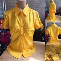 Vero Moda Bluse Gr M Gelb Orange Gerafft Kurzarm Sola Floral Shirt Wie Neu