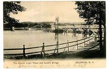 Celoron NY -SEARCH LIGHT TOWER & LOVERS BRIDGE- Postcard Lake Chautauqua