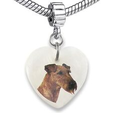 Irish Terrier Heart Dangle Mother Of Pearl European Bracelet Charm Bead EBS59