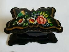 More details for rare vintage russian butterfly shape hand painted gilt lacquer paper mache box