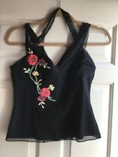 Karen Millen Negro Bordado Chaleco Top Size UK 12