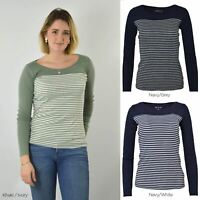 Womens Scoop Neck Striped Jersey Top Long Sleeve T-Shirt Khaki Black Navy