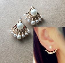 Anthropologie Urban Delicate Pearl Gold Curved Arc Ear Jackets Cuff Earrings