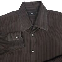 Hugo Boss Brown Striped Button Up Long Sleeve Dress Shirt Men's Size 16.5 32/33