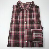 Wrangler Wrancher Women's Western Shirt Pearl Snap Pink Check Plaid Medium M