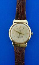 Mathey-Tissot 14k Yellow Gold Reservomatic Stamped Leather Wristwatch Watch