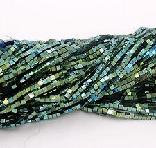 Natural Hematite Gemstone Square Cube Beads  Metallic Silver Gold For DIY green