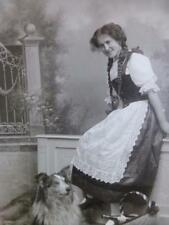 Antique Cabinet Card Photo c1900 Girl w Long Hair Braids & Gorgeous Collie Dog