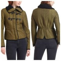 Anthropologie Cartonnier Uster Jacket Green Quilted Coat Peacoat Women's Size 6