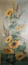 Tableau ancien huile Nature morte tournesols fleurs du printemps signé 1900